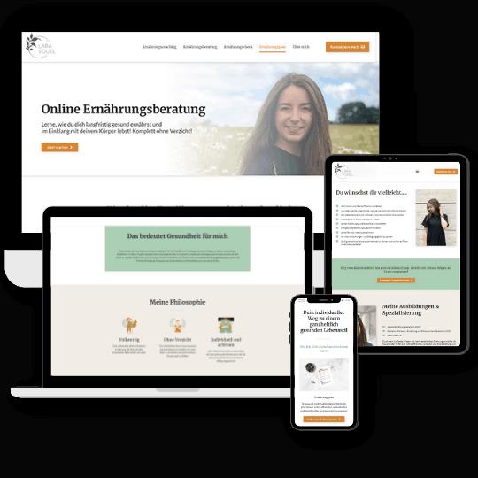 Website von Ernährungsberaterin Lara Vouel designed by Jessica Roth