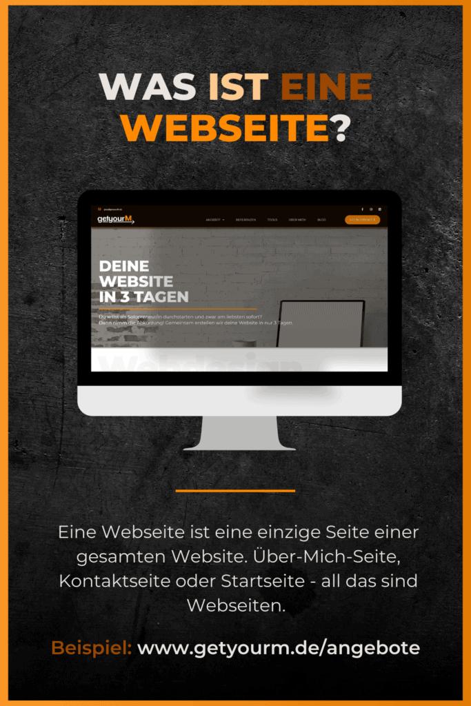 Mit dem Begriff Webseite wird nur eine einzelne Unterseite innerhalb einer Website gemeint.