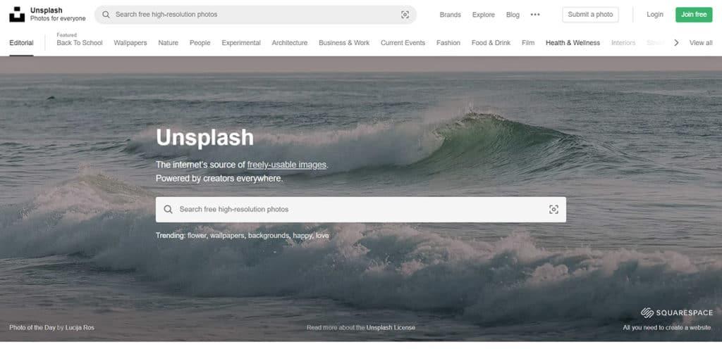 Auf unplash.com findest du kostenlose Stockfotos für deine Website