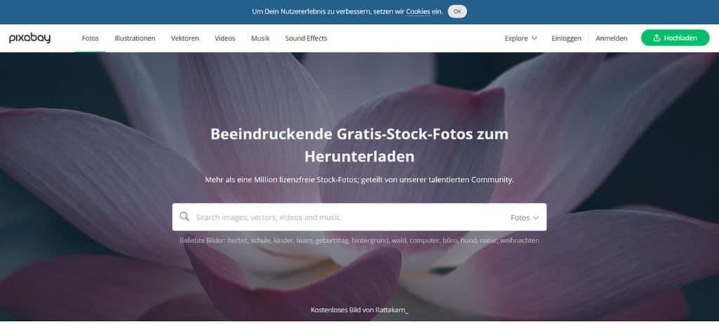pixabay bietet neben kostenlosen und lizenzfreien Stockfotos auch Musik und Grafiken.